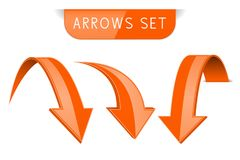 3d orange arrows set. Vector illustration isolated on white background Royalty Free Stock Photo