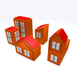 3D Orange Buildings Stock Photos