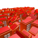 3D Orange Buildings Stock Photo