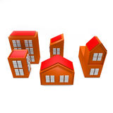 3D Orange Buildings Stock Photography