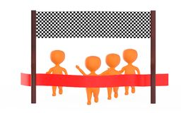 3d orange character is about to cross the finish line precceding many other character,s. 3d rendering Royalty Free Stock Photography