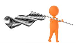 3d orange character waving a checker flag. 3d rendering Royalty Free Stock Images