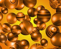 3D orange coloured spheres. Lots of 3D orange coloured spheres with sunrise background Stock Photo