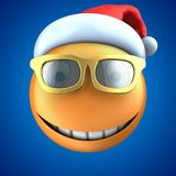 3d orange emoticon smile with christmas hat Stock Photography