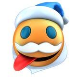3d orange emoticon smile with Christmas hat Stock Image