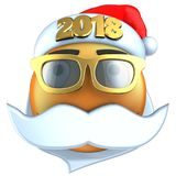3d orange emoticon smile with 2018 Christmas hat. 3d illustration of orange emoticon smile with 2018 Christmas hat over white background Royalty Free Stock Photos