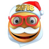 3d orange emoticon smile with 2018 Christmas hat. 3d illustration of orange emoticon smile with 2018 Christmas hat over white background Stock Photography
