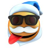 3d orange emoticon smile with Christmas hat Royalty Free Stock Photography