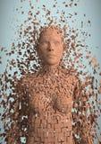 3D orange Frau AI gegen hellblauen Hintergrund Lizenzfreie Stockbilder