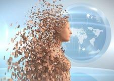 3D orange Frau AI gegen Kugel und Aufflackern Stockfotografie