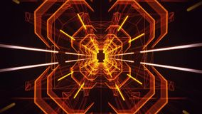 3D Orange Gold Neon Tunnel Loopable Motion Background stock footage