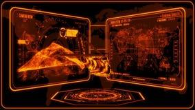 3D orange Hubschrauber HUD Interface Motion Graphic Element stock abbildung