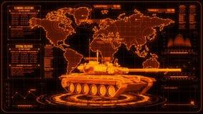 3D Orange Tank HUD Interface Motion Graphic Element