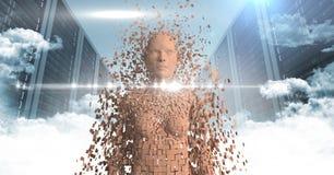 3D orange kvinnlig AI mot serveror och moln med signalljus Royaltyfria Foton