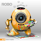 3d orange robo eyeborg painting with a pencil. On a paper, holding in hand. Big blue and black eye and antenna, two feet. Digital vector image Royalty Free Stock Photo
