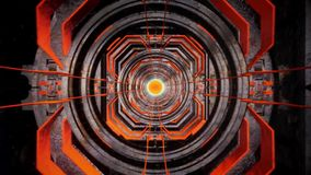 3D Orange Sci-Fi Metal Tunnel Loopable Motion Background stock footage