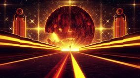 3D Orange Sci-Fi Planet Eye Tunnel VJ Loop Background