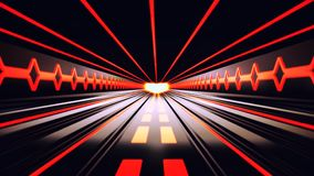 3D Orange Sci-Fi Tron Tunnel Loopable Motion Background stock footage