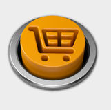 3D orange shopping cart push button Stock Images