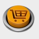 3D orange shopping cart push button Stock Images