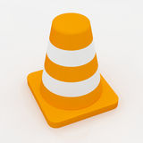 3d orange traffic cone with white stripes Stock Image