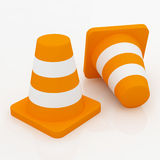 3d orange traffic cones with white stripes. Stock Photography