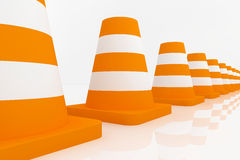 3d orange traffic cones with white stripes. Stock Images