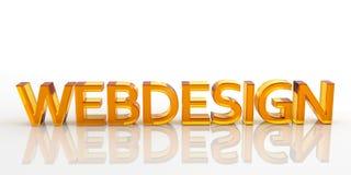 3D Oranje die Webdesign-Word - van Glas wordt gemaakt Royalty-vrije Illustratie