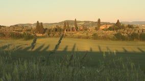 D'Orcia de Val en Toscane au coucher du soleil banque de vidéos