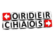 3D Order Chaos Button Click Here Block Text. Over white background Royalty Free Stock Images