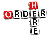 3D Order Here Crossword. On white background Royalty Free Stock Photo