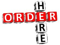 3D Order Here Crossword. On white background Stock Images