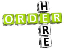 3D Order Here Crossword. On white background Stock Photo