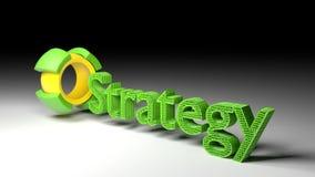 3D ordet STRATEGI kommer ut ur en roterande kub vektor illustrationer
