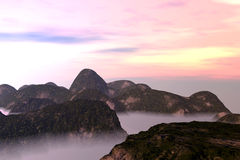 Misty Oriental Landscape Stock Photo