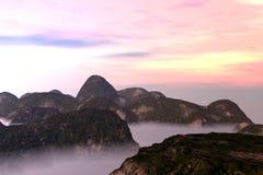 Misty Oriental Landscape Stock Photo