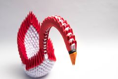 3d origami Łabędzia ptasia czerwień Zdjęcia Royalty Free