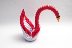 3d origami Łabędzia ptasia czerwień Obrazy Royalty Free