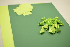 3D origami - зеленые модули Стоковые Изображения