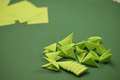 3D origami - зеленые модули стоковая фотография rf