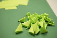 3D origami - зеленые модули Стоковая Фотография