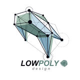3d origami abstract mesh object, vector abstract design element. Royalty Free Stock Photo