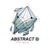 3d origami abstract mesh object, vector abstract design element. Innovation technologies abstract logo Royalty Free Stock Photo