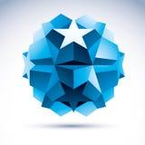 3D origami abstract voorwerp, vector abstract ontwerpelement, clea Stock Afbeelding
