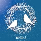 3D Origami Christmas Wreath with Bullfinch. Paper cut tree branch.   Stock Photo