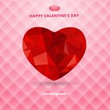 3d origami heart low polygon design shadow on pink square luxury. Pattern sofa texture background for valentines day. vector illustration Royalty Free Stock Image