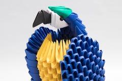 3D origami ptasi papuzi błękit Obraz Royalty Free
