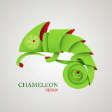 3D Origami Silhouette of chameleon. Stock Images