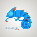 3D Origami Silhouette of chameleon. Stock Photography