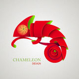 3D Origami Silhouette of chameleon Royalty Free Stock Photo